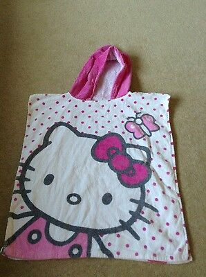Girls Hello Kitty Over Head Pink White Towel Beach Swimming One Size
