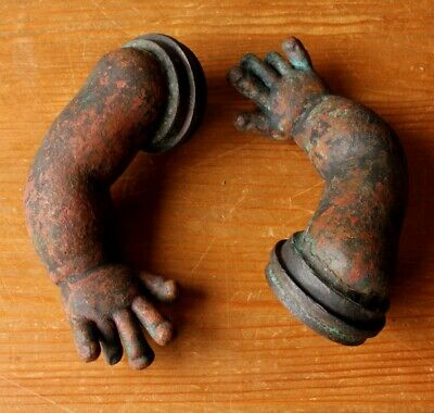 Vintage French Copper Doll Arm Moulds Unusual Antique Display Items Great Colour