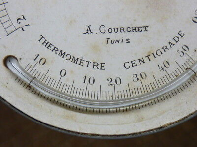Old-Antique Barometer Dial With Fitted Bow Thermometer - Working (Sm)