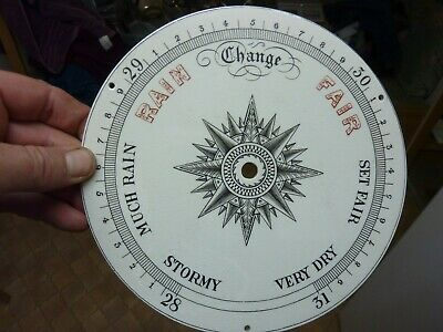 """Very Nice Old Aneroid Barometer 8"""" Glazed Pottery Dial (Pr) Free Post"""