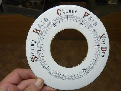 "Good Old-Antique Aneroid Barometer 7 1/16"" Porcelain - Enamel Chapter Ring (Wd)"