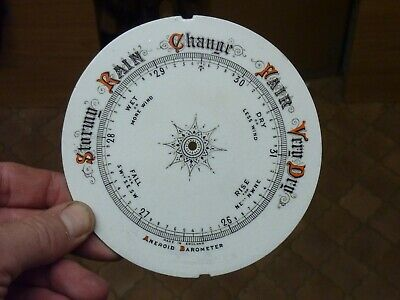 "Good Old Aneroid Barometer 5 3/16"" Glazed Pottery Dial (Sm) Free Post"