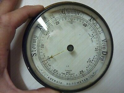 "Old Aneroid Barometer 5 13/16""  Bezel-  Glass-Hand-Set Knob  (G) Free Post"