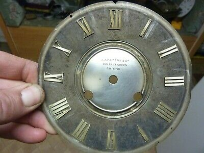 """Good Antique French Clock 5 1/8"""" Signed Brass Dial -- Free Uk Post  (Ad)"""