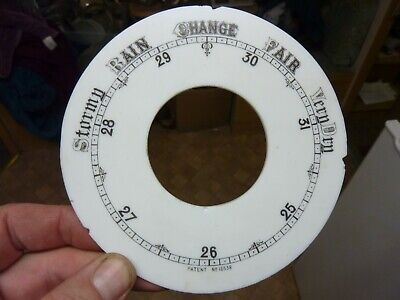 "Good Old Aneroid Barometer 5 3/16"" Milk Glass Chapter Ring (Cr) Free Post"