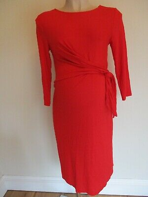 George Maternity Smart Red 3/4 Sleeve Side Tie Dress Size 14