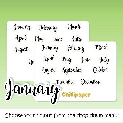 Months of the year, Bujo stickers, Planner Stickers, script stickers, #1081