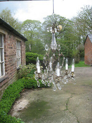 French Antique  6 Branch Chandelier & Crystal Drops /4042