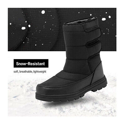 Black Friday Deals Mens Snow Boots Waterproof Fur Fleece Lined Winter Warm Shoes