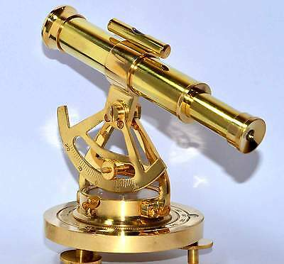 Solid Brass Marine Survey Instrument Alidate Compass With Telescope Decorative