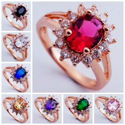 Cubic Zirconia Rose Gold Plated Lady Ring Wedding Engagement Party Jewelry