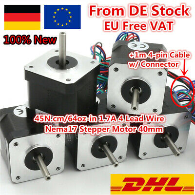 「EU」5P Nema17 40mm Stepper Motor 1.7A 1.8deg+1M Cable for 3D Printer CNC Milling