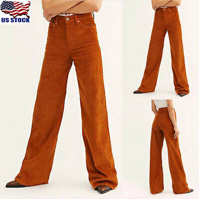 Women Corduroy Wide Leg Trousers High Waist Straight Trousers Loose Casual Pants