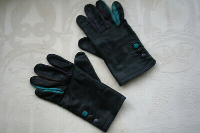 Pair Vintage 70's/80's Ladies Med Lovely Quality Black Leather Gloves.