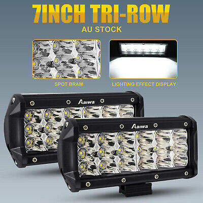 2x 7 inch CREE LED Light Bar 3Rows SPOT Work Driving Lamps Offroad SUV Truck 4WD