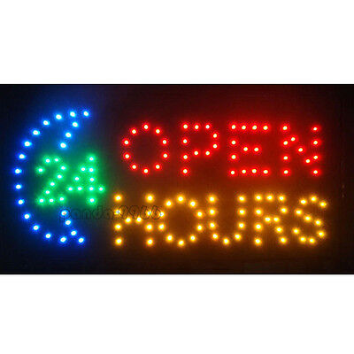 Business Sign Flashing 24 Hours Open Bar Club Shop Store ON/OFF LED Neon Light
