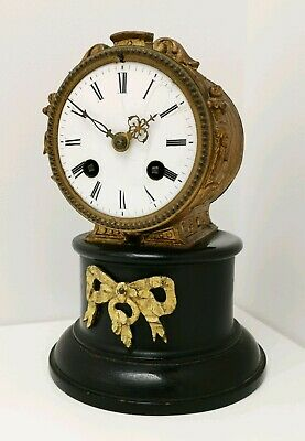 Vintage 19thC J Marti Antique Chiming French Brass Drum Pendulum Mantle Clock