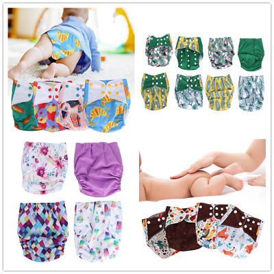 Adjustable 4 Piece Baby Cloth Diaper Reusable Nappy Pants Cover Fit All Age Kids