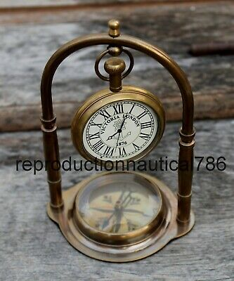 Vintage Nautical Antique Brass Working Clock With Magnetic Compass Decorative