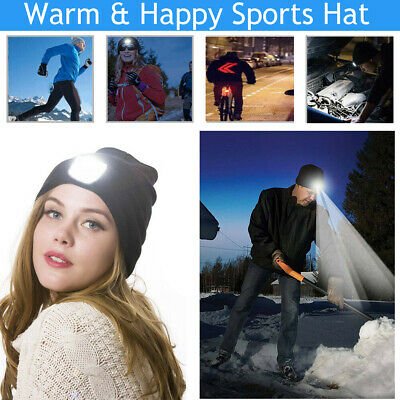Mens Women Beanie Hat LED Light USB Rechargeable Battery Knitted Warm wholesale