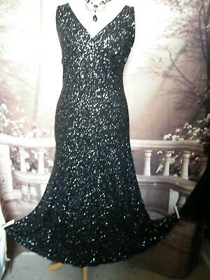 Phase Eight Long Dress/Ballgown Size 14 Black Sequin Evening Cruise Stretch 20s