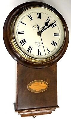 Lovely Inlaid Marquetry Drop Dial Style Wall Clock By Knight And Gibbins London