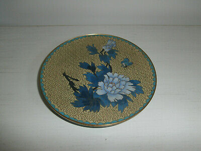 Vintage Antique Chinese / Japanese Cloisonne Plate Blue And Gold Floral Pattern