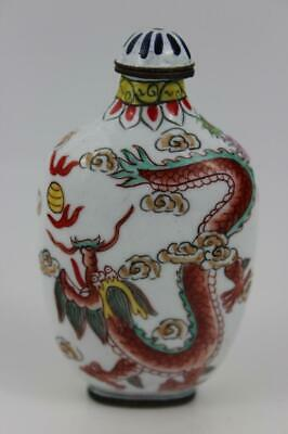 19th Century Chinese Dragon/ Crane Cloisonne Snuff Bottle Hand Painted Signed
