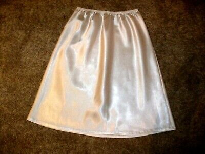 Vintage Short White Liquid Satin Half Waist Slip  Size 12 M&S