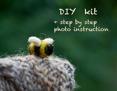 Needle Felting Kit Bumble bee brooch DIY wool felting craft kit for beginners