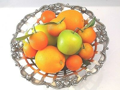 Antique Large Silver Plate Victorian Fruit Basket Derby Reticulated Border