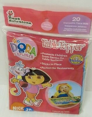 Dora Explorer Diposable Travel Pack Place Mats-Sticks in place-Hygienic-Airplane