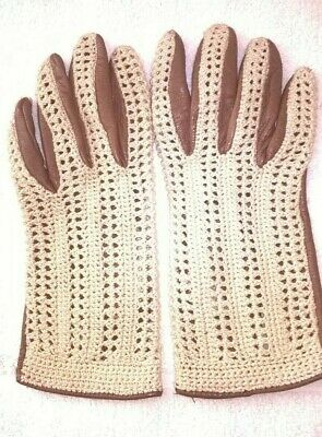 Ladies Vintage Driving Gloves Brown with Cream Crochet Top Excellent Condition
