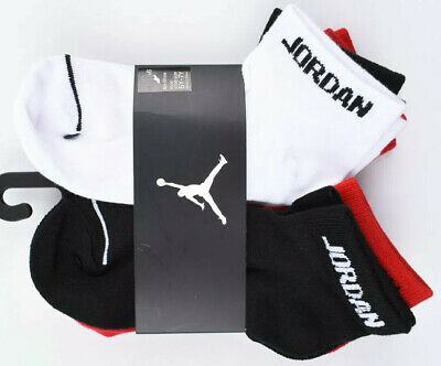 NIKE AIR JORDAN 6-pack Boys' Kids' Socks, White/Red/Black, UK junior 4-5