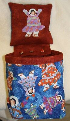 PIN CUSHION & SCRAP BAG COMBO~Handmade~Cotton~Sewing/Quilting/Crafts~Eskimos