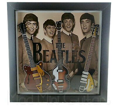 "Shadow Box 12"" x 12"" THE BEATLES with 2 x mini guitars"