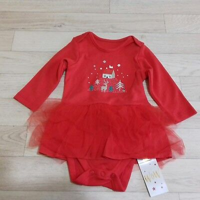 M&S girls Christmas babygro tutu dress red outfit age 3-6 months party bnwt