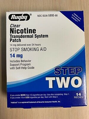 STEP 2 Rugby Stop Smoking Aid  EXP: 08/2021 Nicotine Transdermal 14 Patches,