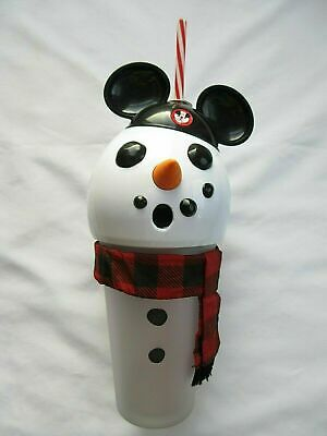 New Disney Parks 2019 Christmas Light Up Mickey Snowman Large Tumbler Cup