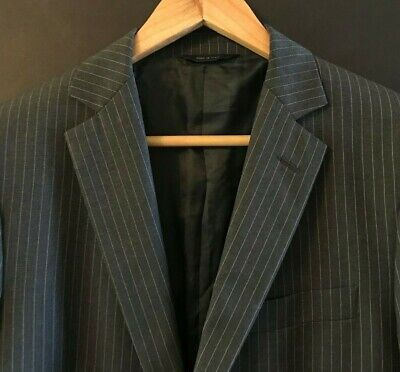 Brooks Brothers Mens Fitzgerald Wool Blazer Gray Striped Jacket Made in Italy 38