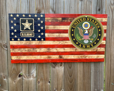 """United States Army USA 10/"""" Round Wood Plaque Sign Patriotic Home Wall Decor"""