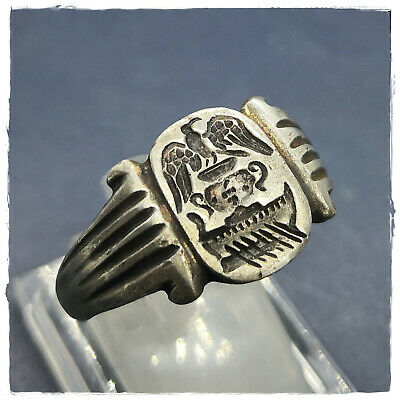 ** EAGLE - PITOS - GALLEY ** ancient MILITARY LEGIONARY SILVER Roman ring! 7,90g