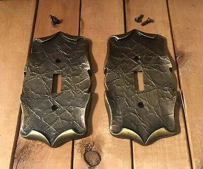 Lot Of 2 VINTAGE Amerock Carriage House Brass SINGLE Light Switch COVERS Plates