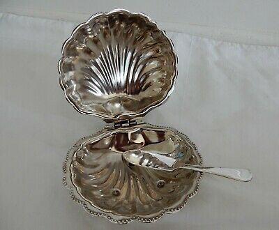 Vintage 3 Pc Silverplate Clamshell Butter Dish W/Frosted Glass Liner & Knife
