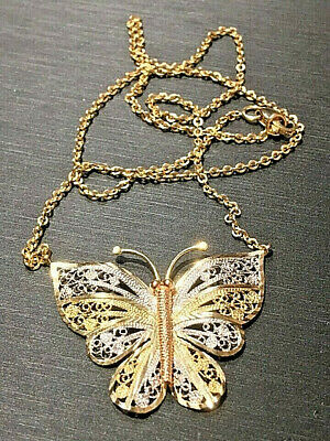 14 Kt Yellow/White Gold Filigree Butterfly Necklace