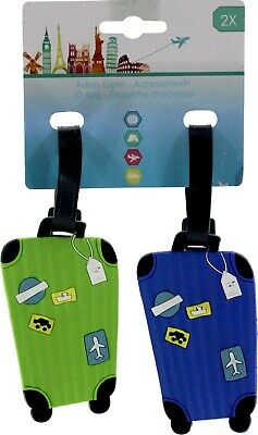 2 Silicone Travel Luggage Baggage Suitcase Bag Identity Address Name Tag Label