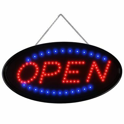 "19""×10"" Animated Motion Oval OPEN Business Sign LED Neon Light Bar Store Display"