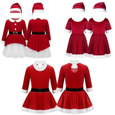 Girls Christmas Dress Xmas Holiday Party Velvet Costume Dancing Skating Outfit