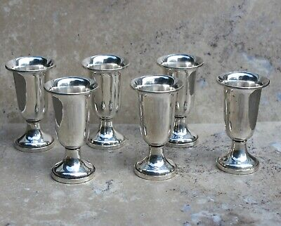 6 Fisher Sterling Footed Goblets, Small-for Cordial, Aperitif, Shot, Weighted