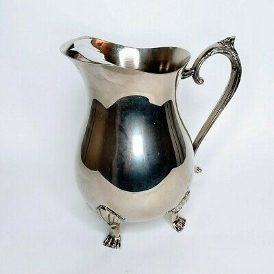 Leonard Silver Plate Pitcher With Ice Guard 4 Toe Footed